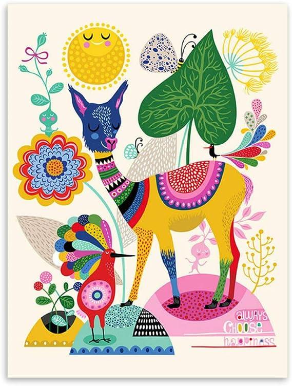 LiMengQi Moderno Abstracto Colorido Animal Ciervo Caballo Llama Posters nórdico Pared Arte Imprime Cuadros Estilo Retro Decorativa para el hogar Lienzo Pintura (No Frame): Amazon.es: Hogar