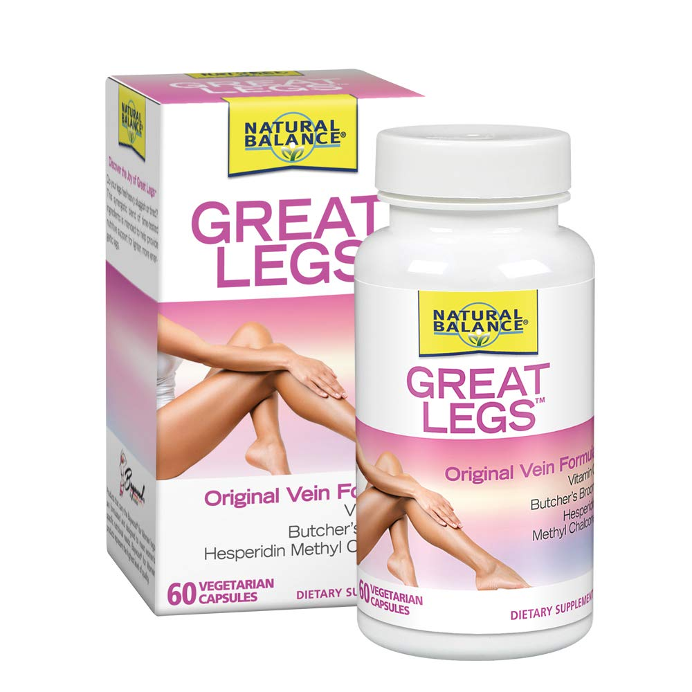 Natural Balance Great Legs Vein Formula | Healthy Vein & Circulation Support | W/ Vitamin C, Butchers Broom & Hesperidin | Lab Verified | 60 VegCaps
