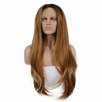 Peluca de pelo natural sin pegamento con raíces oscuras, marrón claro/rubio, pelo