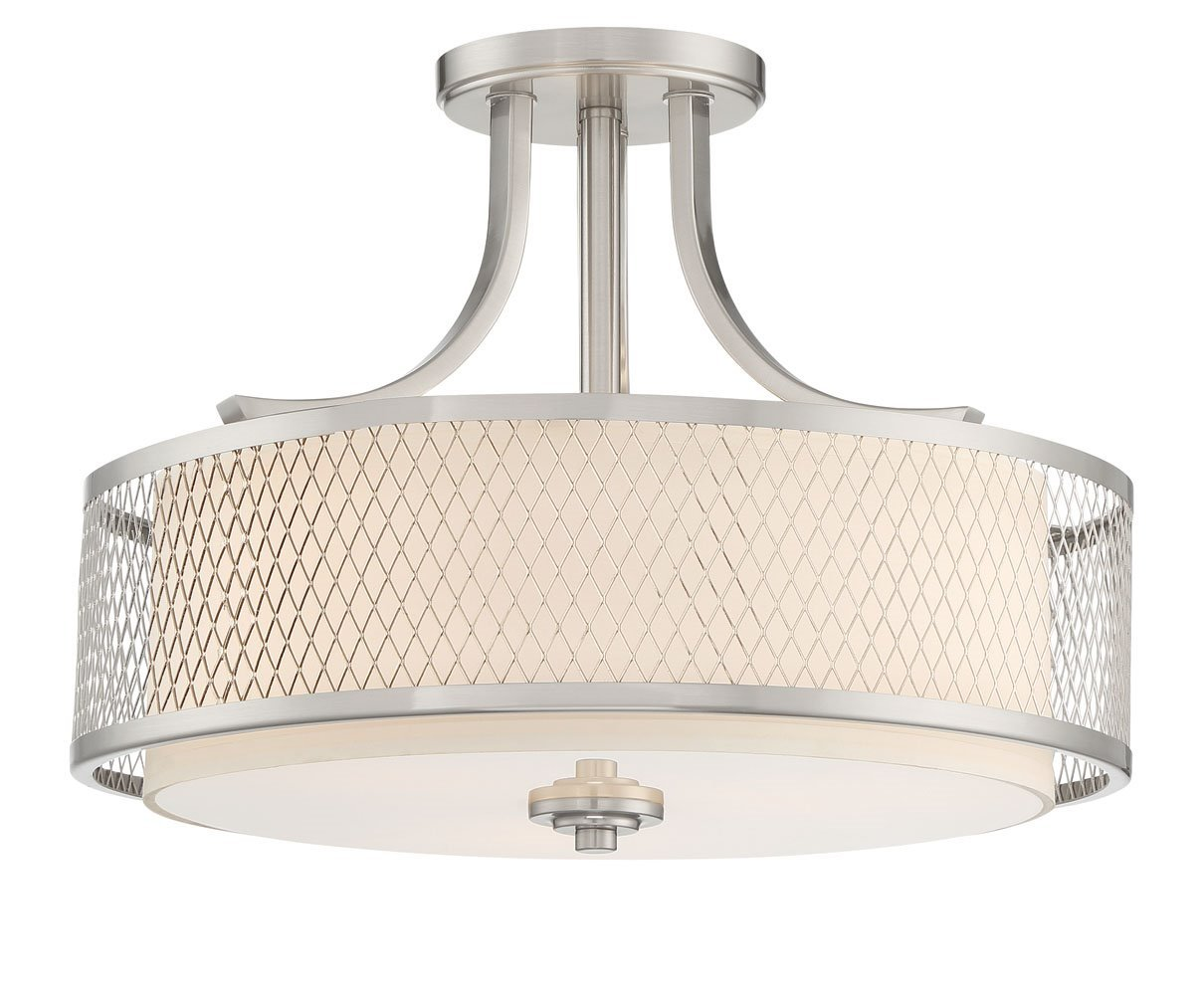 Kira Home Linx 16'' 3-Light Semi-Flush Mount Ceiling Light Fixture + Outer Mesh Shade and Inner White Fabric Shade, Brushed Nickel Finish