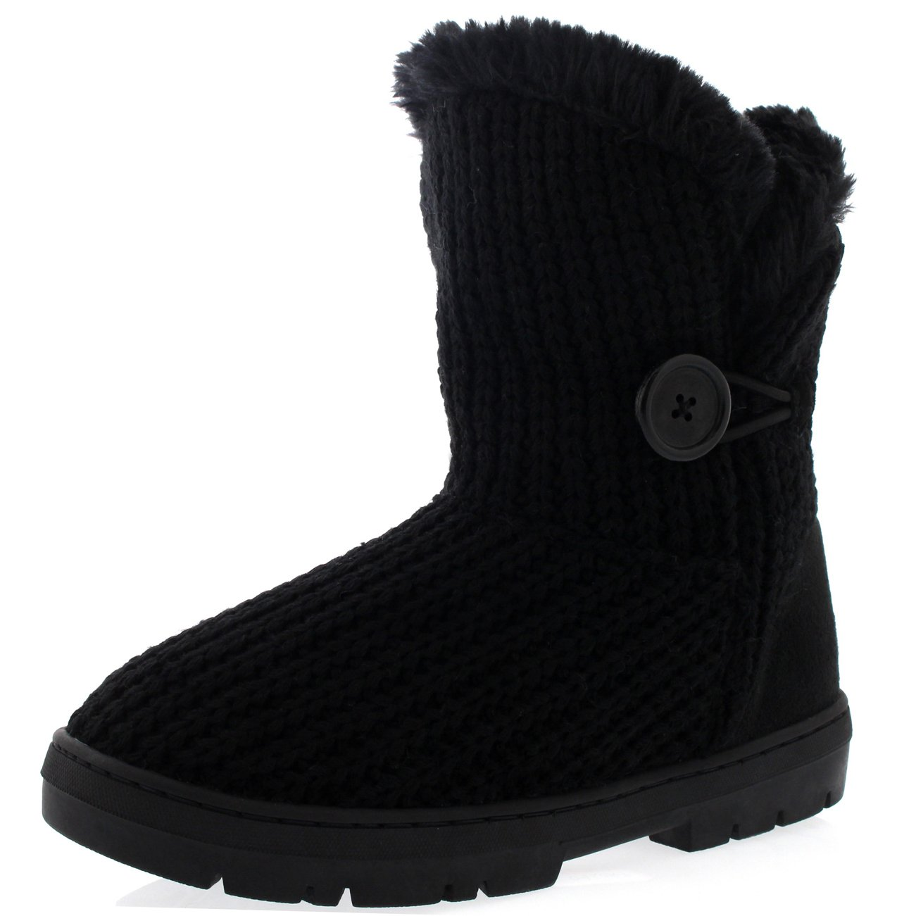 Womens Single Button Fully Fur Lined Waterproof Winter Snow Boots B00YUUEHLO 7 B(M) US|Black Knitted