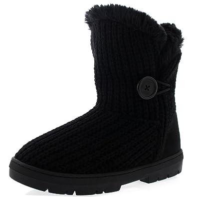 Holly Damen Schuhe Single Knopf Fell Schnee Regen Stiefel Winter Fur Boots  - Schwarz Gestrickt -