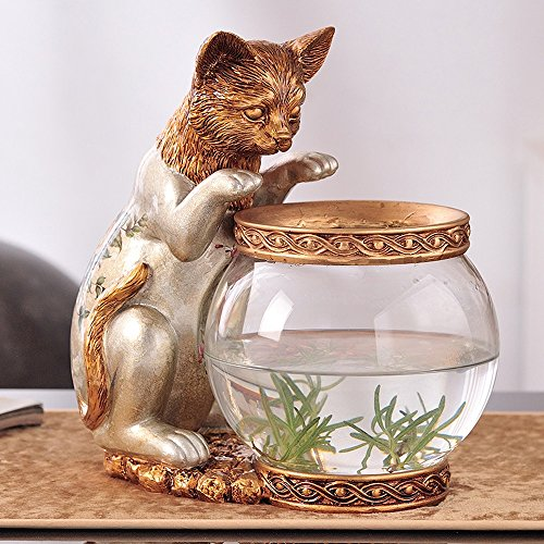 (KTYXDE European Fish Tank Home Decoration Living Room Decoration Personality Cute Cat Fish Tank Vase Children Gift Creative Jewelry 15x25x25cm Crafts Ornaments (Color : Silver))