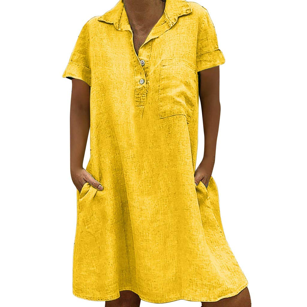 ❤Women's Loose T Shirt Dresses, Clearance Sale! Ladies Summer Plus Size Casual Solid Button Dress with Pockets by Cobcob Dress Clearance Sale!