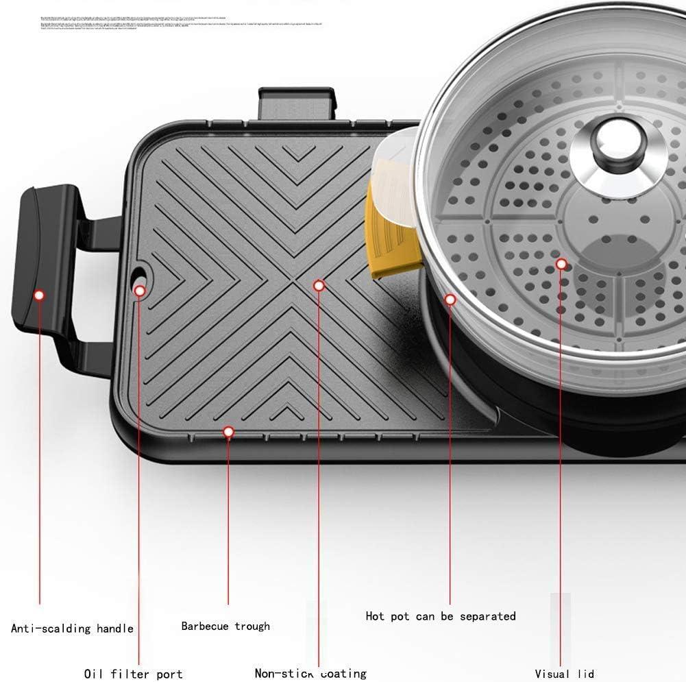 RRFFVV Barbecue électrique à Fondue, Portable Grill électrique Intérieur Barbecue Surface Antiadhésive,2200 W,B B
