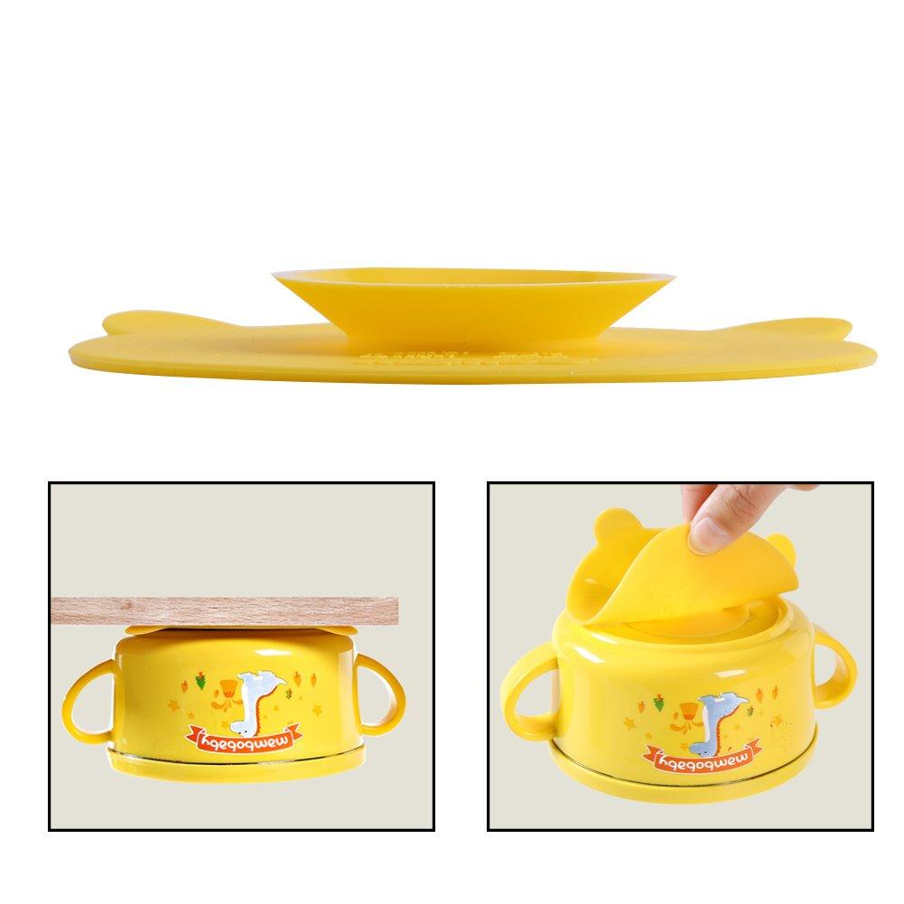 Baby/ /Cuenco silicona r/ígida Mat antideslizante absorbente comida ventosa alfombrillas Magic Suction Vajilla de doble cara Sucker para beb/é Kids Pack de 2