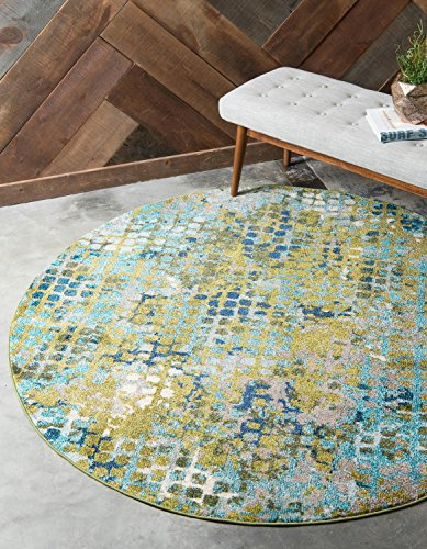- Unique Loom Chromatic Collection Modern Abstract Colorful Blue Green Round Rug (6' 0 x 6' 0)