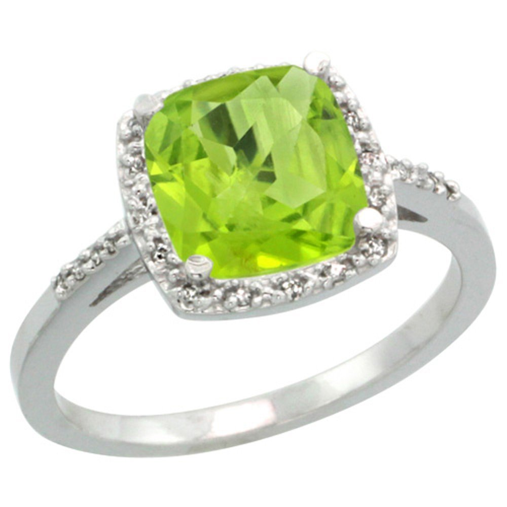 Sterling Silver Diamond Natural Peridot Ring Cushion-cut 8x8mm, 1/2 inch wide, size 9 by Sabrina Silver (Image #5)