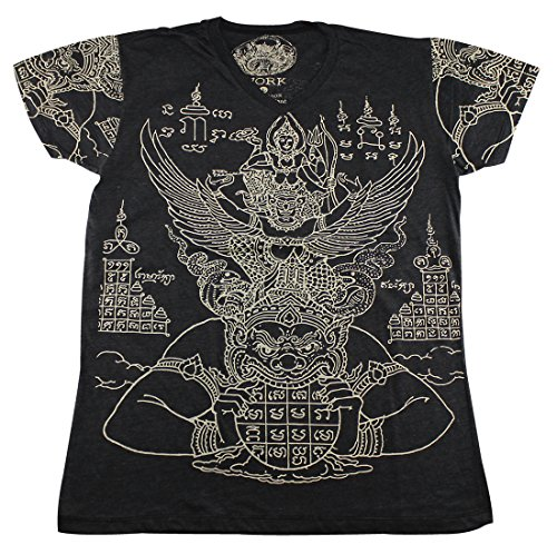 [WORK Thai Tattoo Sak Yant Vishnu Rahu Garuda T-Shirt Black / WK04.2 size XL] (Muay Thai Fighter Costume)