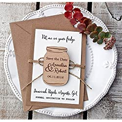 Wedding Wood Mason Jar Save-the-Date Magnet, Mason Jar Wood Magnet, Wooden Magnet, Save The Date Magnet, Wooden Save The Date Magnet, Rustic Save The Date
