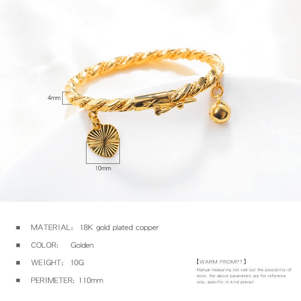 Eymi 18k Gold-Plated Children Jewelry Baby Rope Bangle Bracelet Decorate with Heart Bell 4.3 inch EKH-315