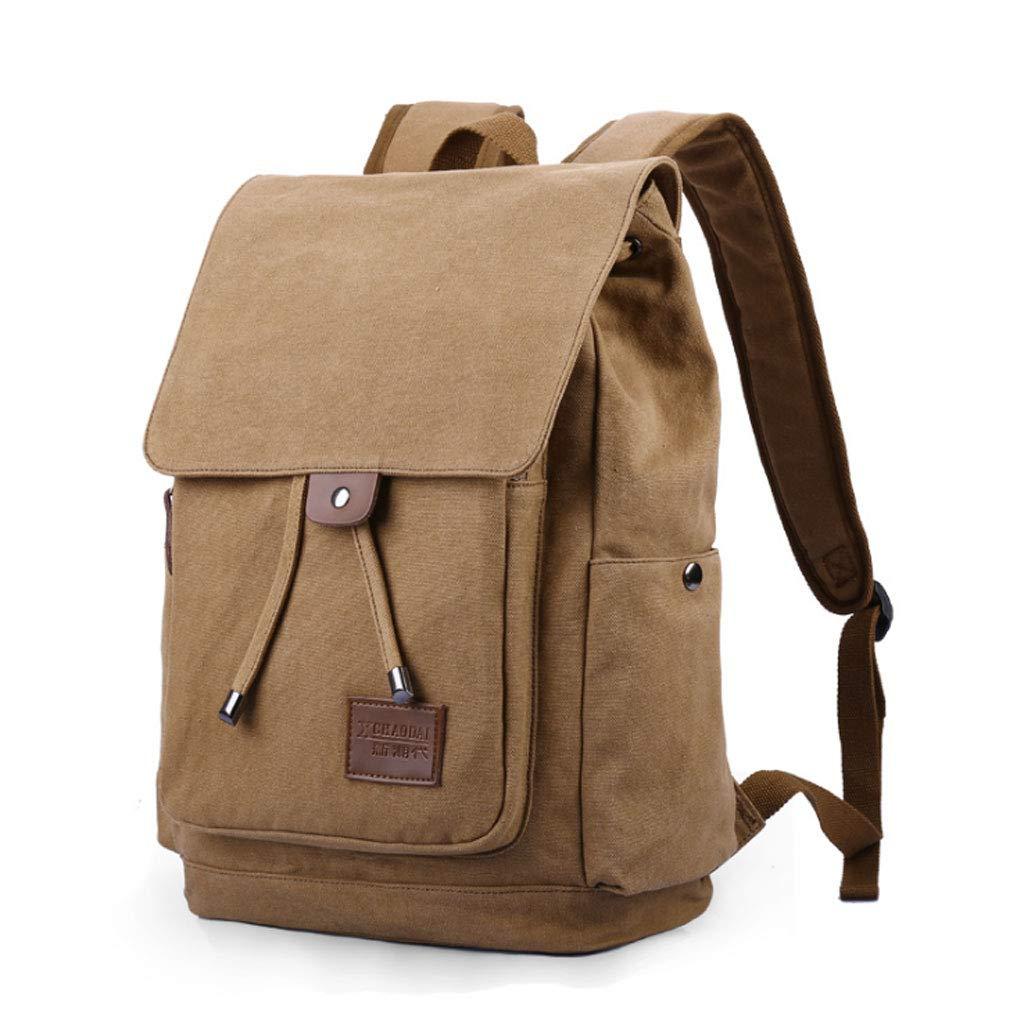 Backpack Fashion Casual Backpack Travel Canvas Bag College Student Bag Computer Bag (color   Khaki)