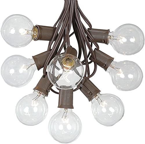 G50 Patio String Lights with 25 Clear Globe Bulbs Outdoor String Lights Market Bistro Caf Hanging String Lights Patio Garden Umbrella Globe Lights – Brown Wire – 25 Feet