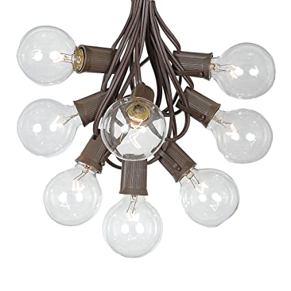 G50 patio string lights with 125 clear globe bulbs outdoor string lights market bistro