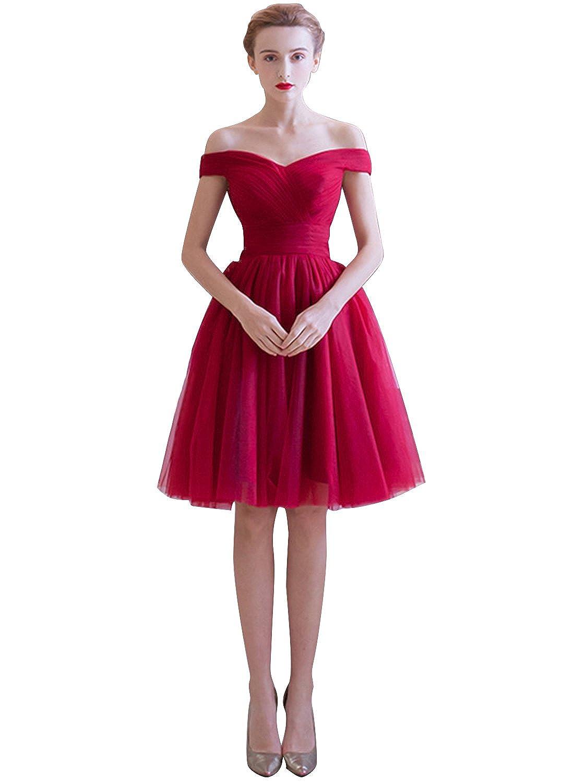 Azbro Women's Off Shoulder Slim Fit Mesh A-line Dress
