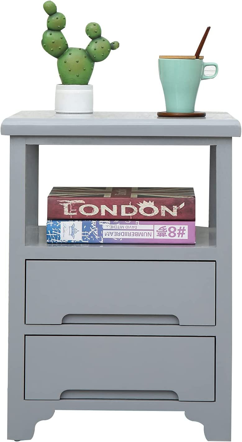 SQPFTW End Table with 2 Drawers(No Assembly Required) - Fully Assembled Nightstand/Side Table - 17