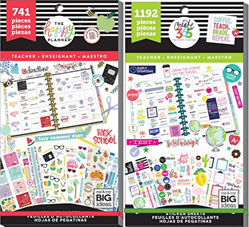 Big Happy Planner Teacher Back to School - One Happy Year (741) and Teacher Sweet Life (1192) - 2 Sticker Value Packs ()
