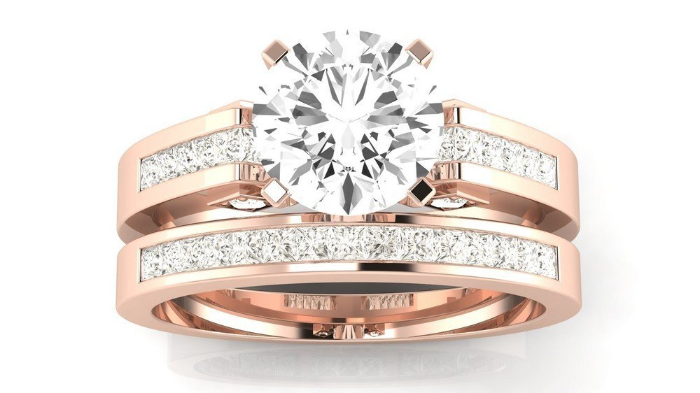 14K Rose Gold 1.45 CTW Round Cut Channel Set Princess Cut Diamond Engagement Ring, J Color I1 Clarity Center Stone