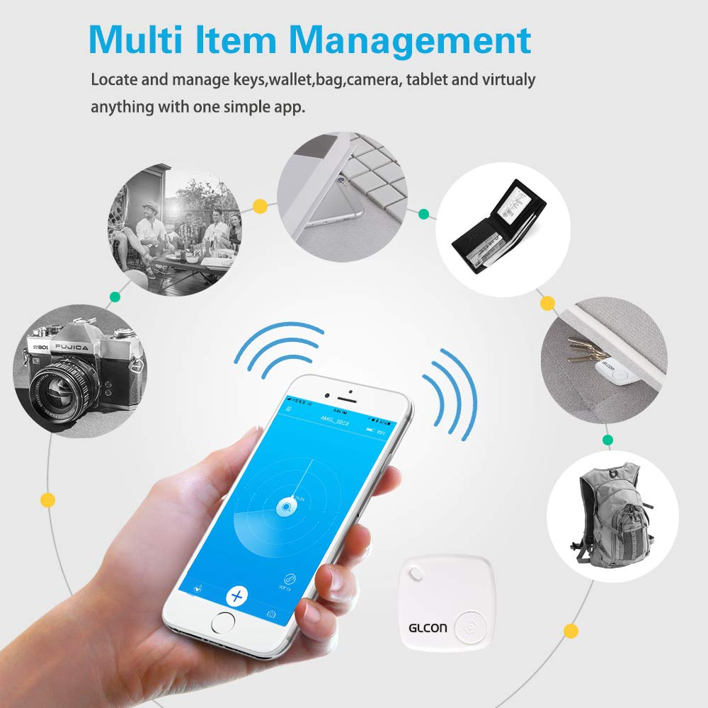Bluetooth Key Finder - Key Locator Tracker Device with App Control for iPhone, Slim Wallet Bag Luggage Tracker - Compatible with iOS Android(Replaceable Battery Included)