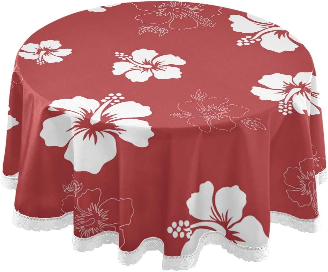 Amazon Com Dallonan Table Decoration For Party Tropical Hibiscus Round Table Cloth Exotic Flowers Polyester White Lace Tablecloth Round Table 60 Inch For Dinner Table Decortion Home Kitchen