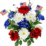 Admired-By-Nature-GPB4340-RDWTBL-Faux-Peony-Daisy-Mixed-Flower-with-American-Flags-RedWhiteBlue