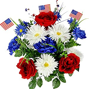 Admired By Nature GPB4340-RD/WT/BL Faux Peony Daisy Mixed Flower with American Flags Red/White/Blue 64