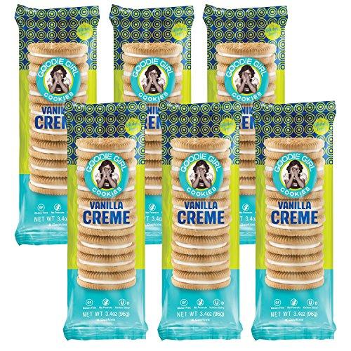 Goodie Girl Cookies, Vanilla Creme Sandwich Gluten Free Cookies, Individual Snack Packs, Peanut Free Cookies, Kosher (3oz Bag, Pack of 6)