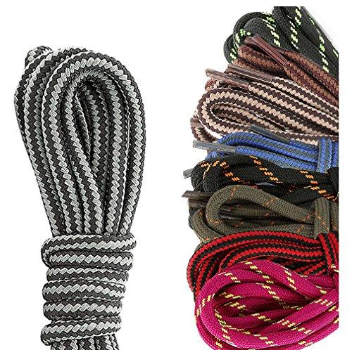DailyShoes Round Hiking Boot Shoelaces Strong Durable Stylish Shoe Laces Ratatouille Hazel , (Great for ) Black Dark Grey 60
