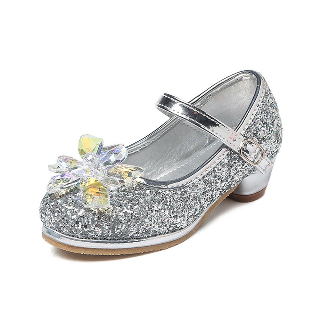 YIBLBOX Girls Kids Toddler Dress up Wedding Cosplay Princess Shoes Glitter Crystal Mary Jane Low Heel Shoes