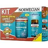 Kit Fish oil 1000mg Norwegian 18 EPA 12 DHA 300 capsulas de 1450 mg cada