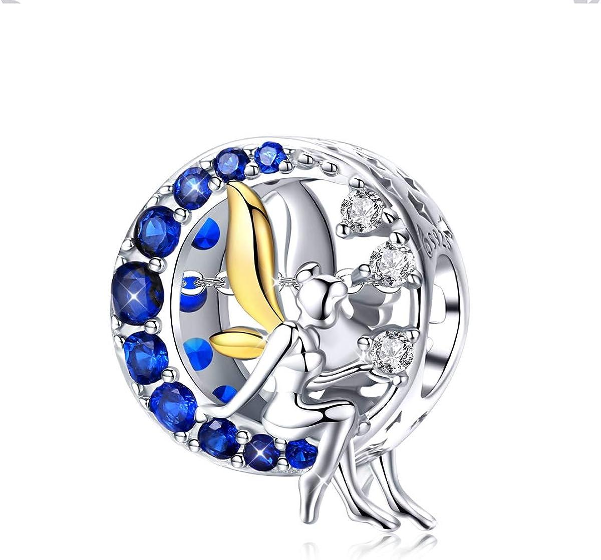 Abalorio de ángel de plata de ley 925 con diseño de luna azul y lunar, con circonita cúbica, compatible con pulseras europeas Pandora