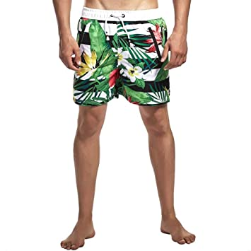6dd9e018ab8e0 Wojin Men's Beachwear Board Shorts Quick Dry Holiday Party Swim Trunks(Green  ...