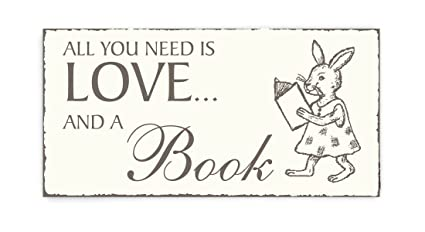 Placa decorativa, « All You Need is Love And A Book » Conejo ...