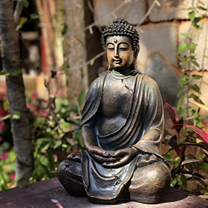 Garden Statues Artificial Buddha Sculpture With Waterproof Resin Garden Sculptures For Yard Landscape Lawn Ornaments 24 X 20 X 38 Cm Amazon De Kuche Haushalt