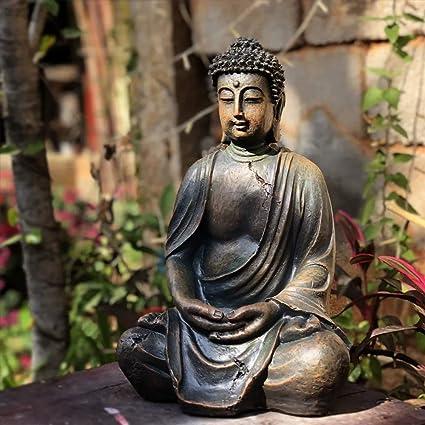 Garden Statues Artificial Buddha Sculpture With Waterproof Resin Garden Sculptures For Yard Landscape Lawn Ornaments 24 X 20 X 38 Cm Amazon De Kuche Haushalt