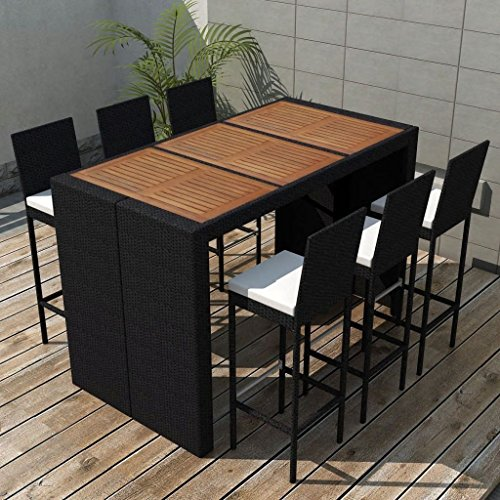 Daonanba Comfortable Garden Bar Set Durable Outdoor Dining Set Poly Rattan Acacia Wood Tabletop 13 Piece (Furniture Acacia)