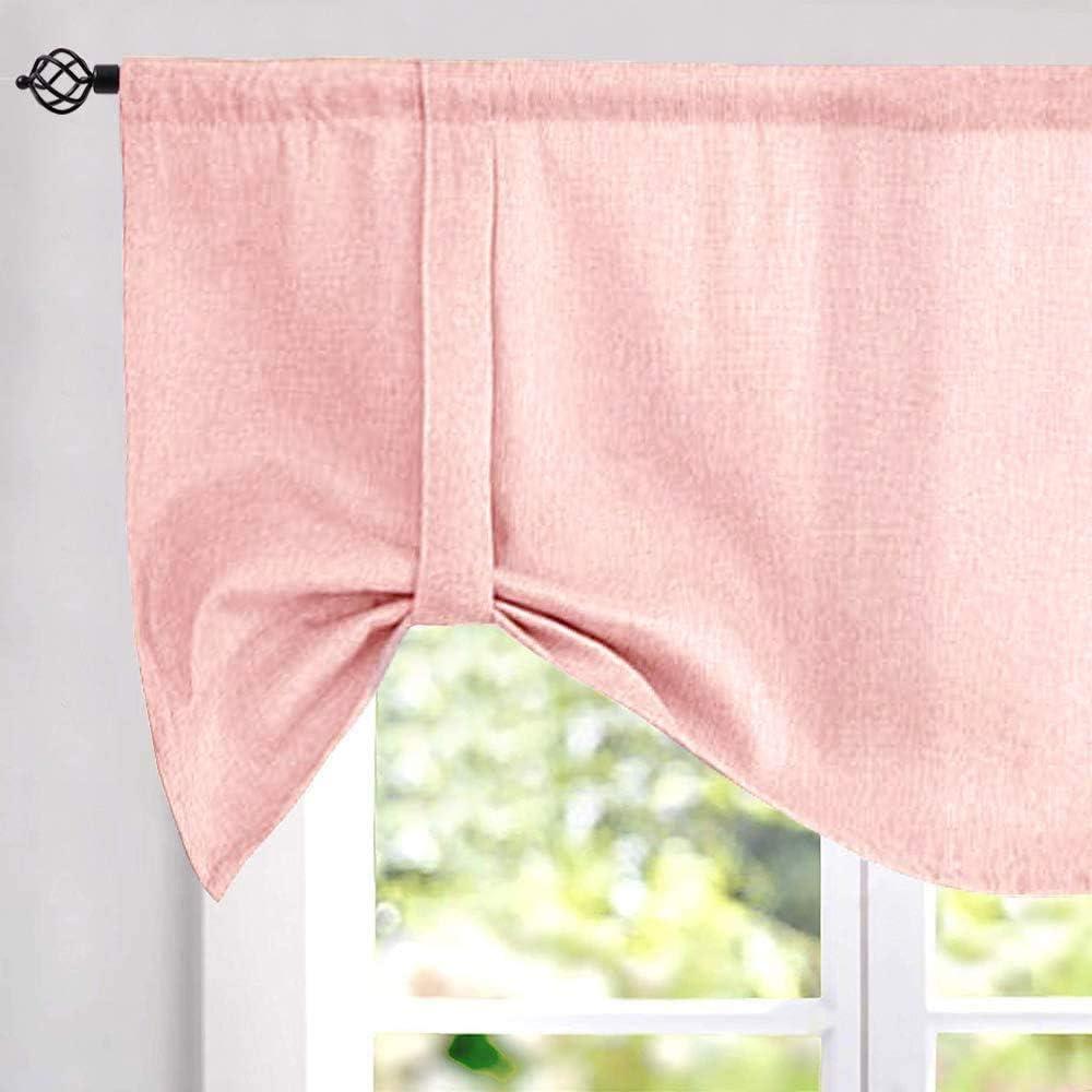 jinchan Tie up Valances for Kitchen Windows Linen Textured Room Darkening Adjustable Tie Up Shade Window Curtain Rod Pocket 20 Inches Long 1 Panel Pink