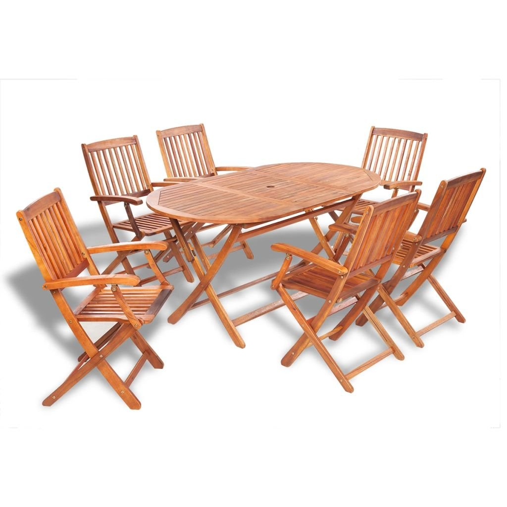 Festnight 7 Piece Folding Outdoor Patio Dining Set with Slatted Chairs, Acacia Wood