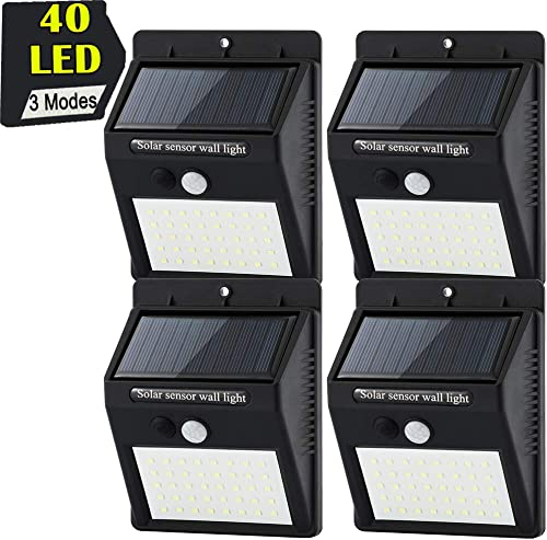 40 LED Wall Mounted Solar Lights, Semoon Waterproof Motion Sensor 3 Modes Security Lamps for Front Door, Outside Wall, Back Yard, Garage, Garden, Fence, Driveway-4 Pack