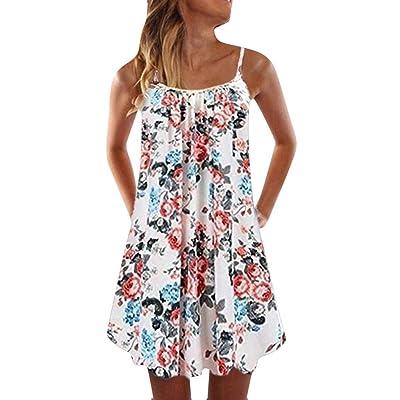 Summer Dresses for Women Off-Shoulder Strappy Mini Beach Dress Boho Floral Swing Tank Tops Short T-Shirt Dress: Clothing