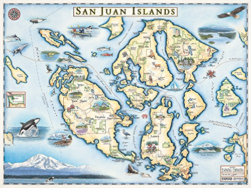 Hand Drawn Map - San Juan Islands Map Wall Art Poster - Authentic Hand Drawn Maps in Old World, Antique Style - Art Deco - Lithographic Print