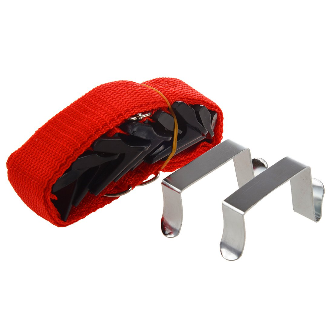 Tmalltide Adjustable Over the Door Straps Hanger Hat Clothes Coat Bag Rack Organizer Handbags/Purses/Scarves/Hats in Hanging Package With 8 Hooks (Green)