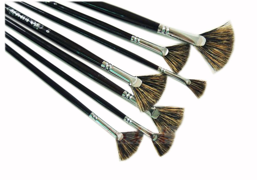 Fan-shaped Paintbrushes Handled Brush Sets, 7-Piece PANDA SUPERSTORE PS-HOM12897431-YOUNG00621