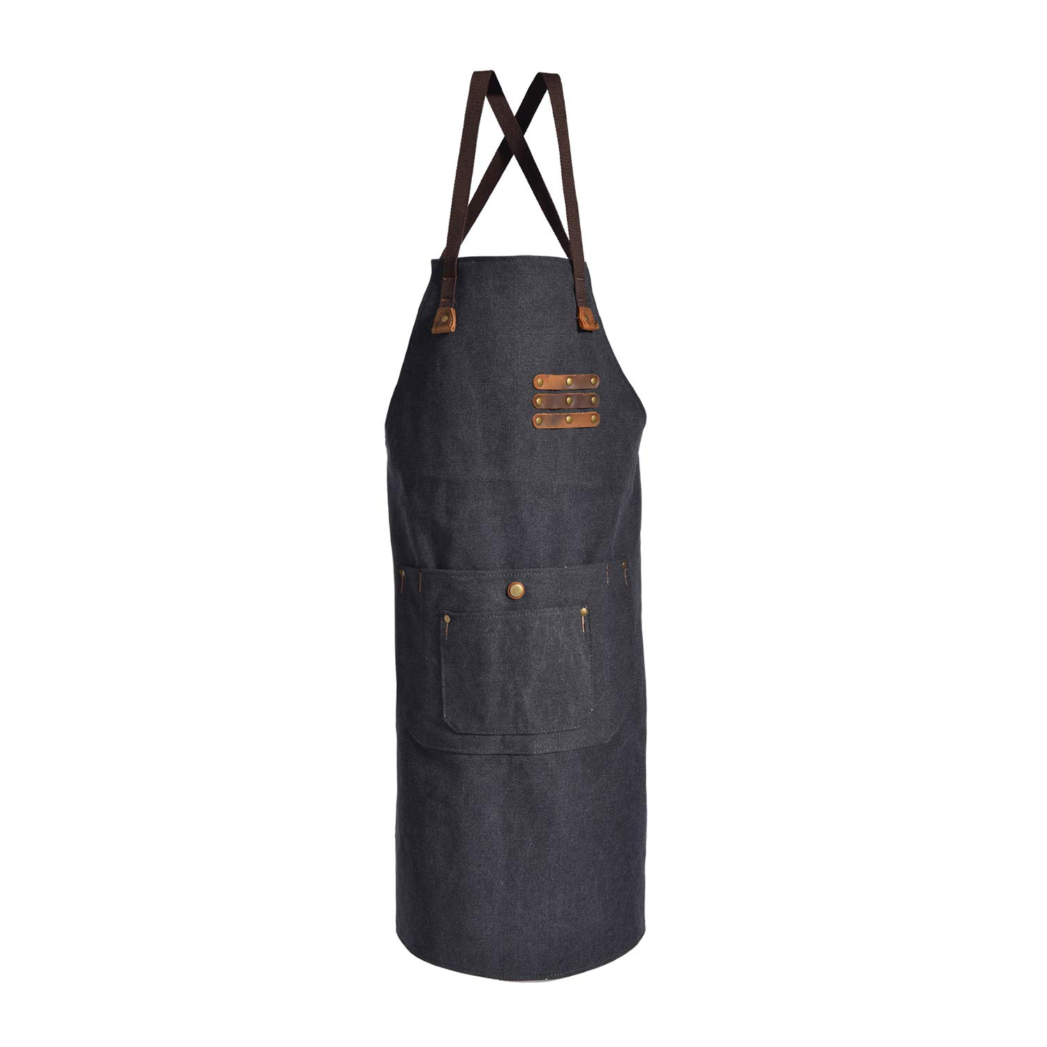 Canvas Shop Apron for Men & Women  Heavy Duty Work Apron with Pocket & Cross-Back Straps   Adjustable Tool Apron M to XXL(Grey) by ruizhixuan (Image #6)