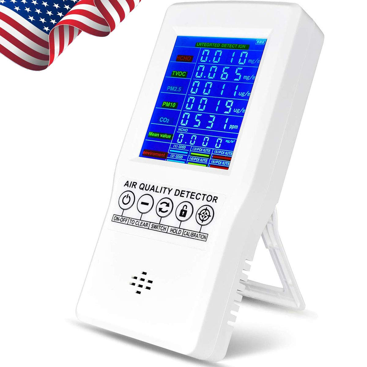 Air Quality Monitor Indoor, Accurate Air Tester Detector for Formaldehyde(HCHO) CO2 TVOC PM2.5/PM10, Home Air Test Kits with Colorful LCD Screen, Suitable for Home Office and Various Occasion (White)