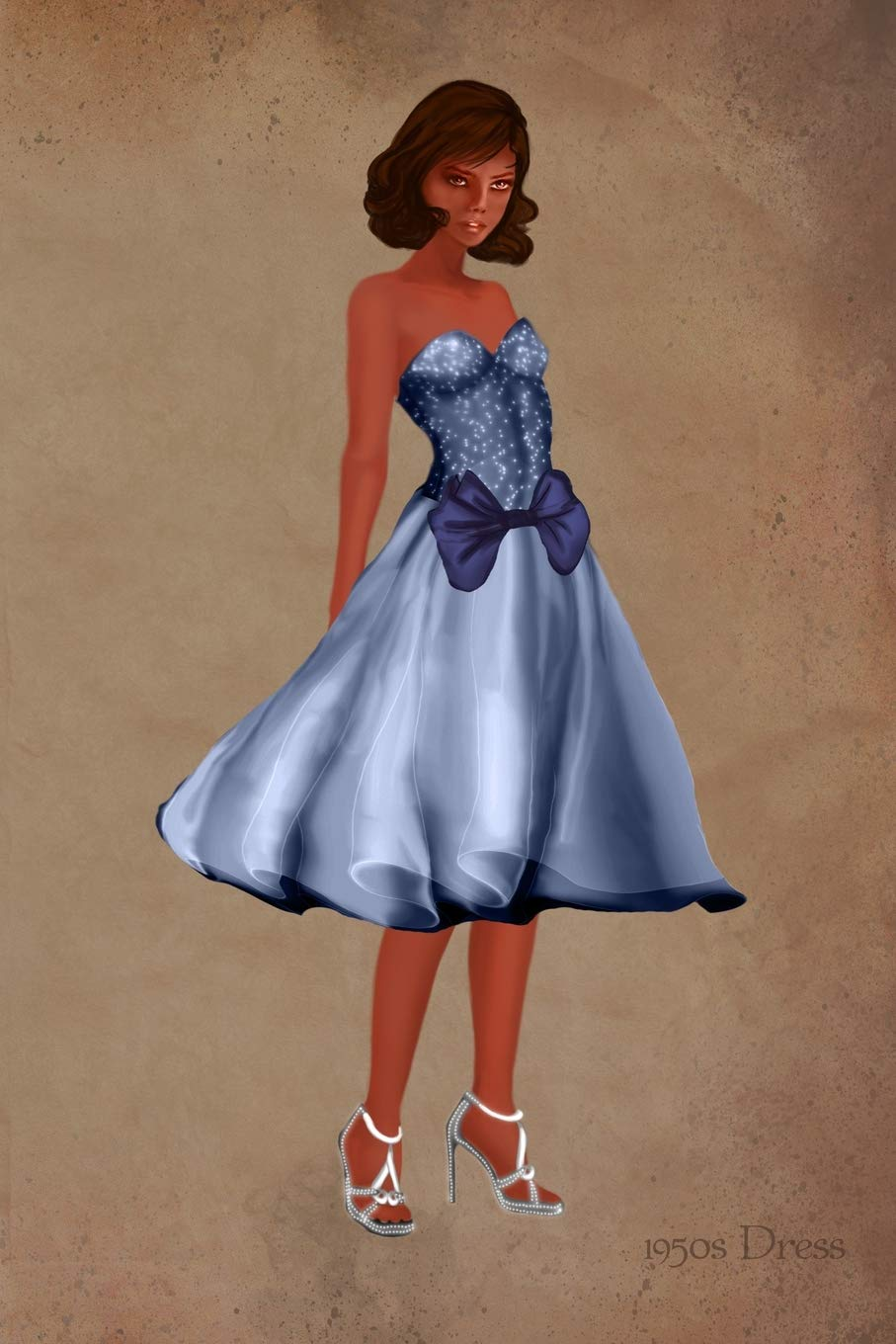1950s Dress: Blue Strapless Dress