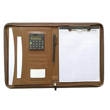 Carpeta portátil de MM, de piel sintética con cremallera con agenda portafolio laboral tamaño A4, cremallera y calculadora, color marrón