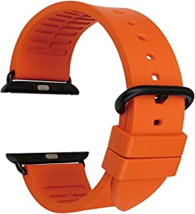 MAIKES Compatible with Apple Watch Band 44mm 40mm 42mm 38mm, Fluoro Rubber Watchbands/Watch Strap Replacement for Apple iWatch SE Series 6 5 4 3 2 1 Sport, Edition …