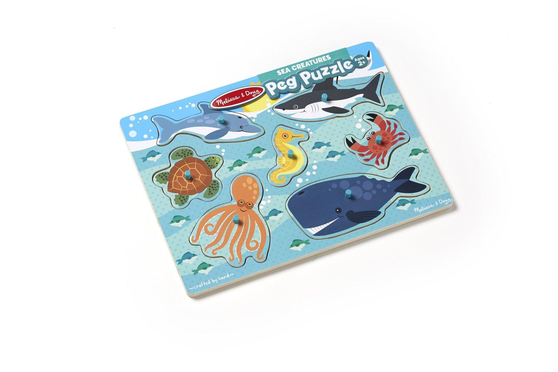 9055 Melissa /& Doug Sea Creatures Wooden Peg Puzzle 9 pcs