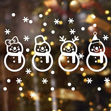 christmas decoration wall decal window stickers home decor christmas snowflakes snowman decoration removable vinyl wall - Window And Door Christmas Decorations